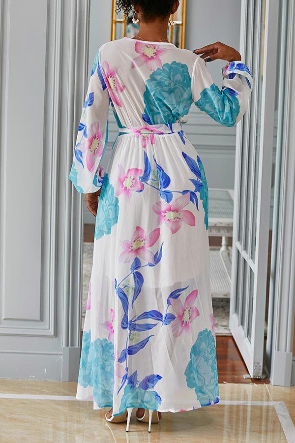 Lovely Bohemian V Neck Long Sleeves Floral Printed White Chiffon Floor Length Dress