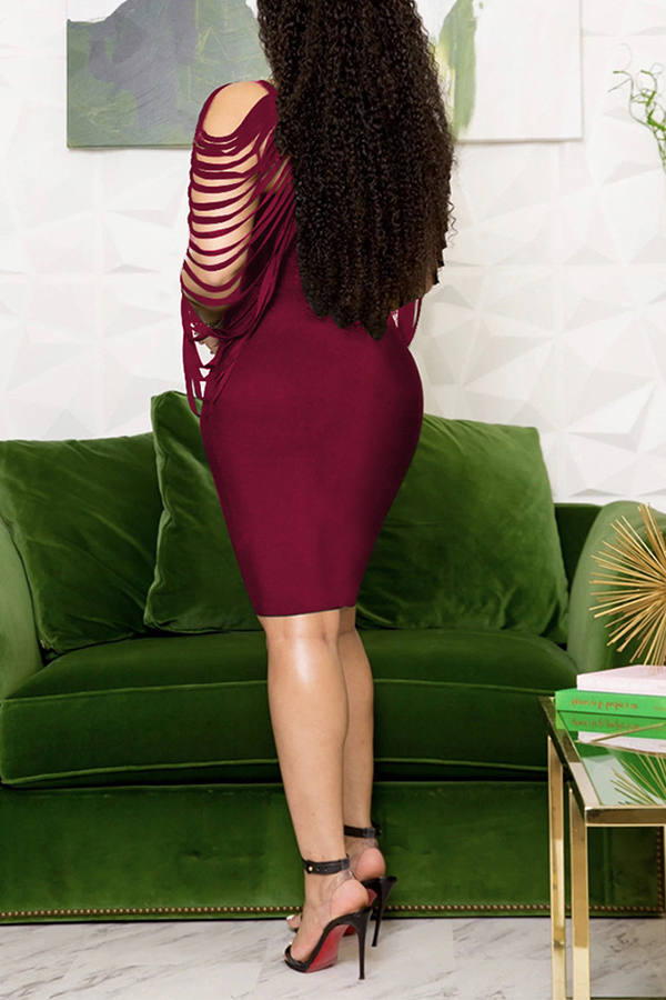 Lovely Trendy Hollow-out Wine Red Knee Length Dress