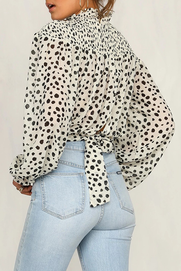 Lovely Sweet Turtleneck Dot Printed White Blouse