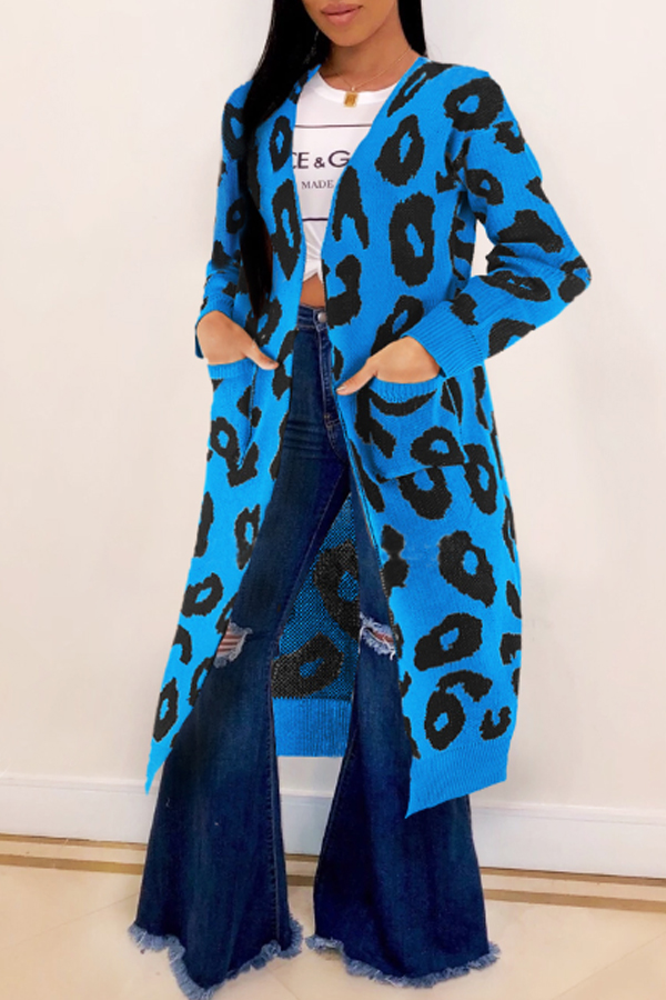 Lovely Leisure Leopard Blue Cardigans