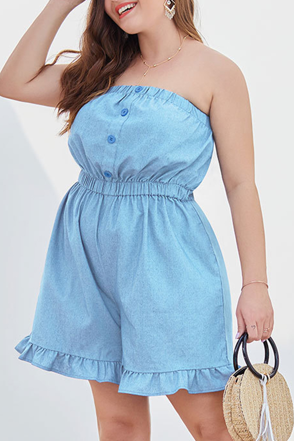 Lovely Trendy Flounce Design Baby Blue Plus Size One-piece Romper