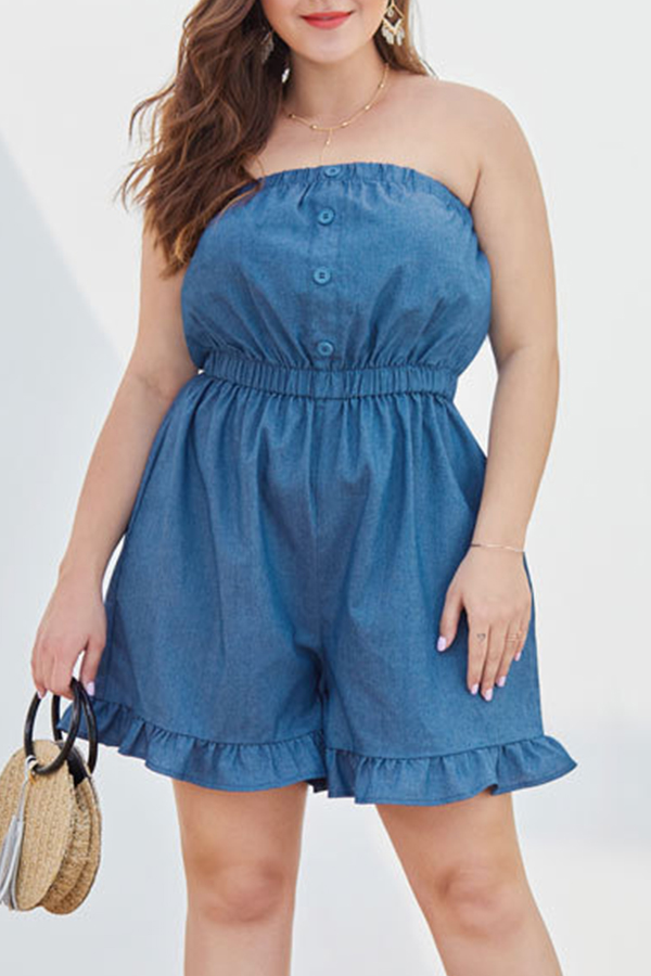 Lovely Trendy Flounce Design Blue Plus Size One-piece Romper