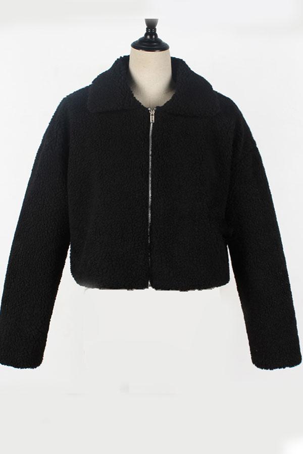 Lovely Casual Zipper Design Black Coat