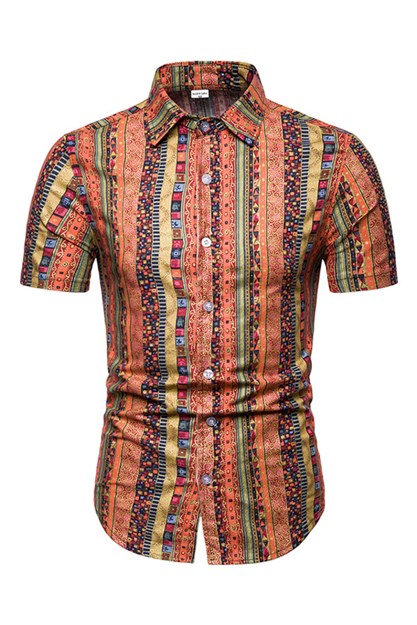 Lovely Ethnic Turndown Collar Printed Red Shirt