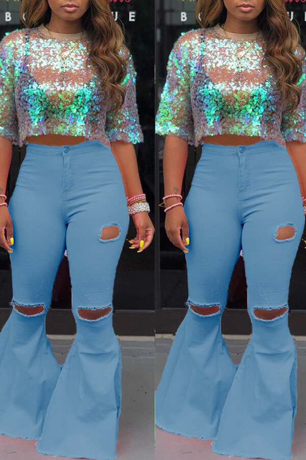 Lovely Casual Mid Waist Broken Holes Baby Blue Pants