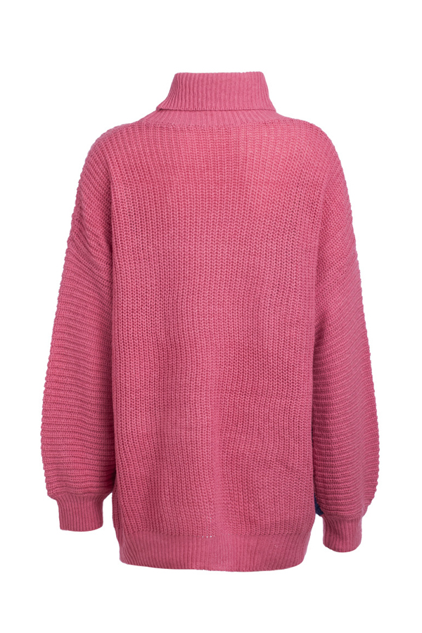 Lovely Trendy Color-lump Patchwork Rose Red Sweaters