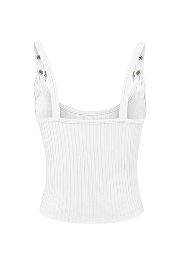 Lovely Casual Spaghetti Straps White Camisole