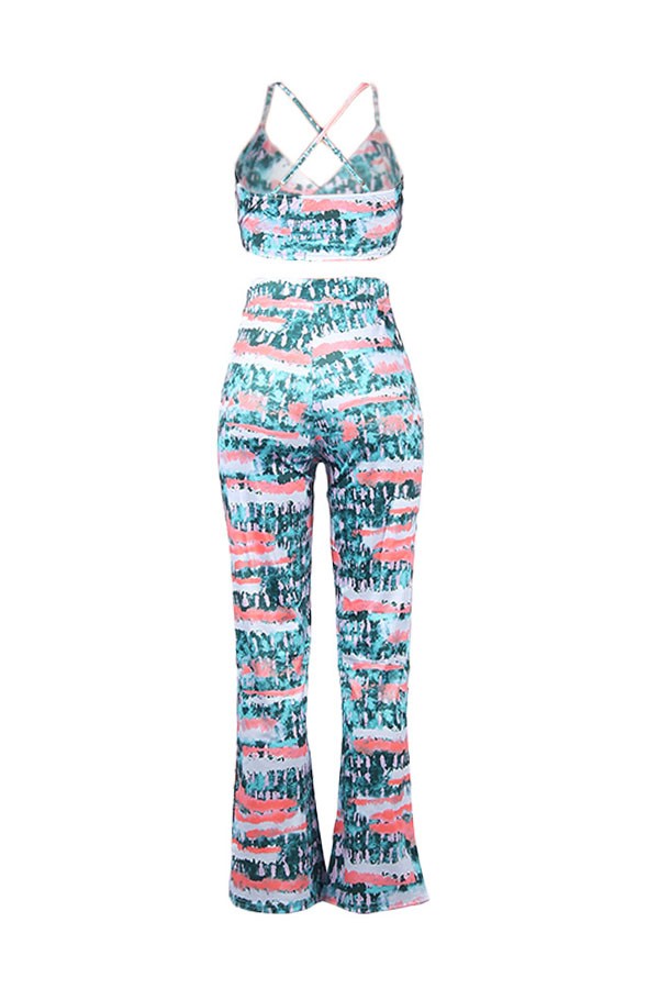 Lovely Casual Sleeveless Printed Green Two-piece Pants Set