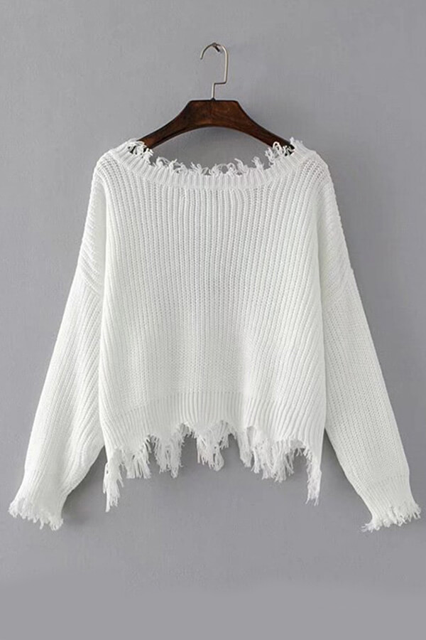 Lovely Trendy Asymmetrical White Sweaters