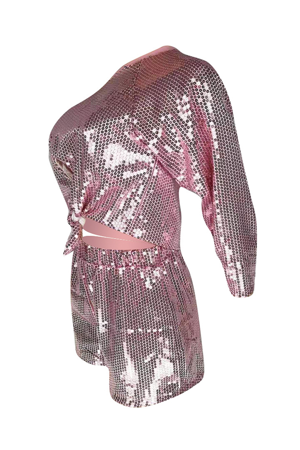 Lovely Casual Sequined Decorative Pink Two-piece Shorts Set