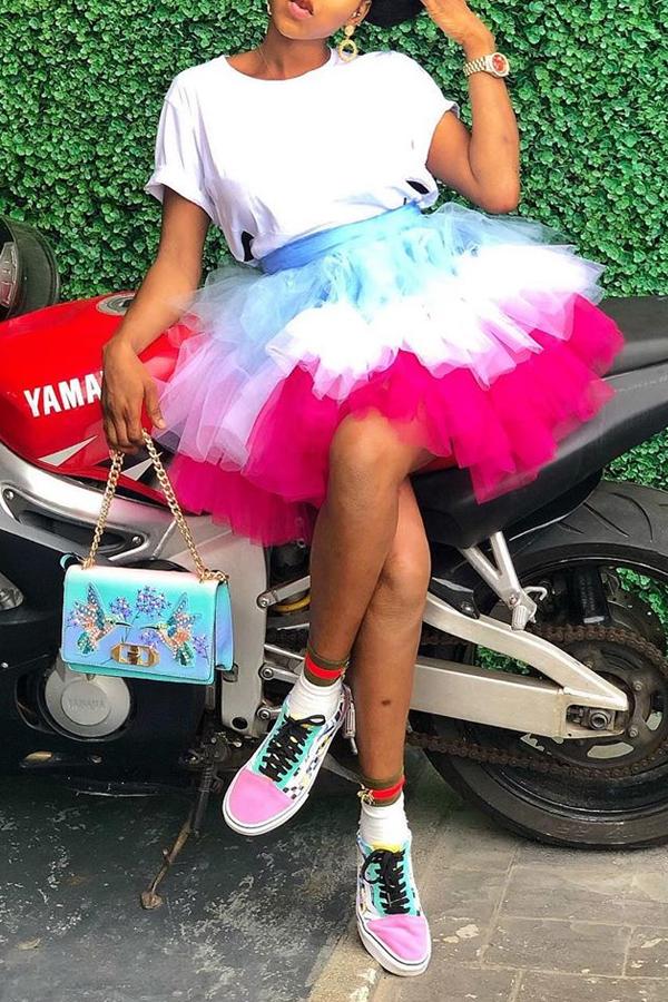 Lovely Chic Ruffle Design Multicolor Mini Skirt