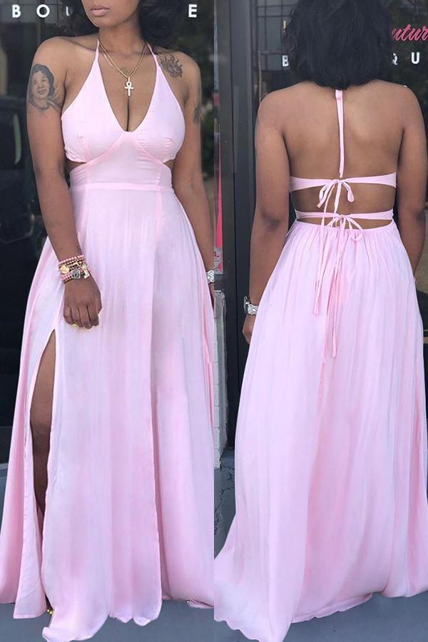 Lovely Trendy Spaghetti Straps Slit Light Pink Floor Length Dress