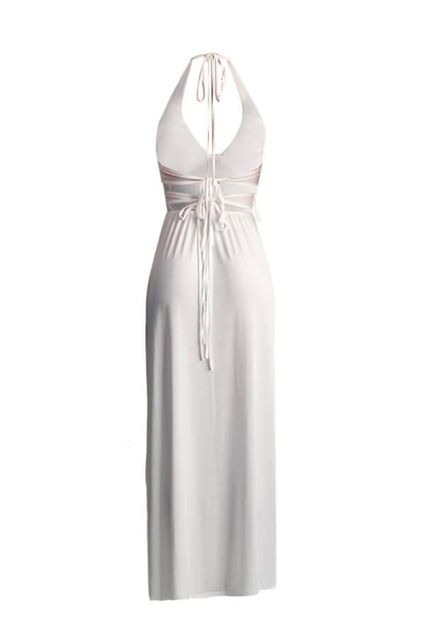 Lovely Trendy Spaghetti Straps White Floor Length Dress