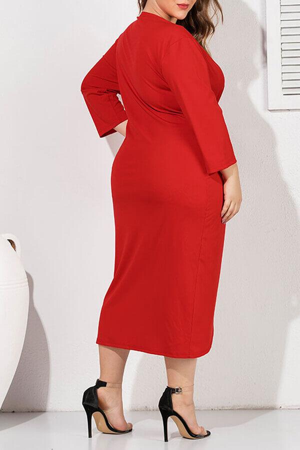 Lovely Casual V Neck Split Red Plus Size Blouse