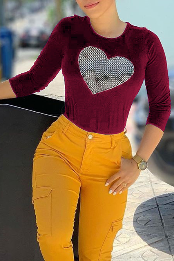 Lovely Casual Hot Drilling Decorative Wine Red T-shirt