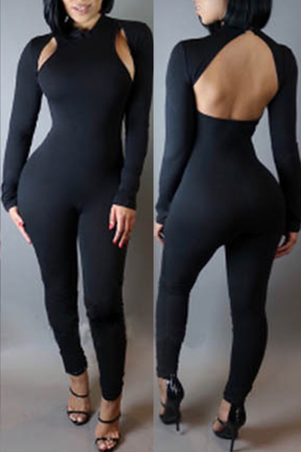 Lovely Trendy Hollow-out Black One-piece Jumpsuit