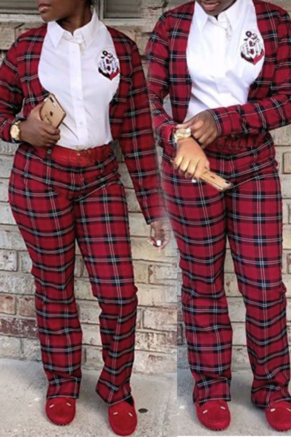 Lovely Work Plaid Printed Wine Red Two-piece Pants Set