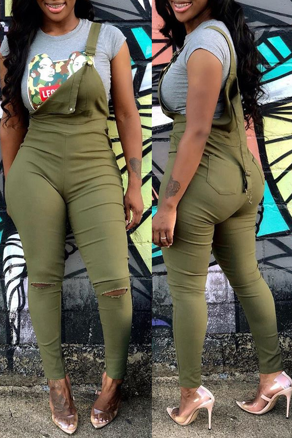 Lovely Casual Broken Holes Army Green One-piece Jumpsuit