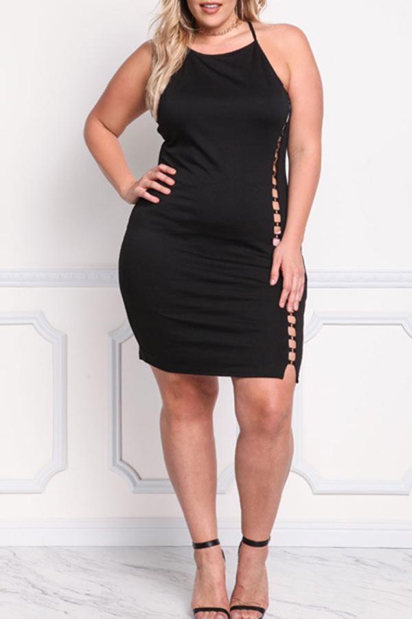 Lovely Trendy Hollow-out Black Mini Plus Size Dress