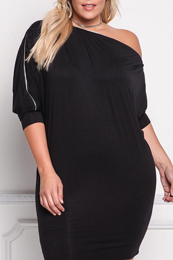 Lovely Trendy Dew Shoulder Black Plus Size Mini Dress