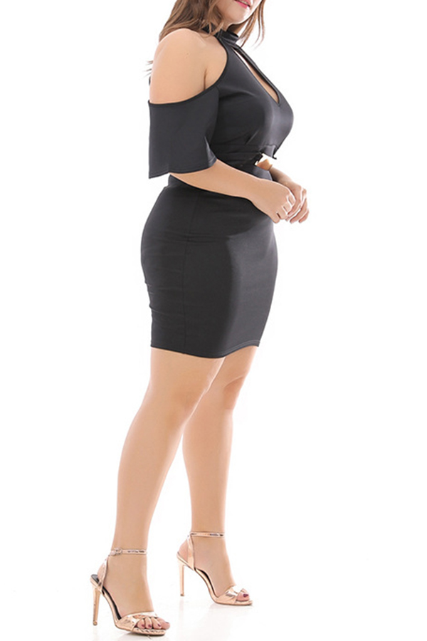 Lovely Casual Hollow-out Black Plus Size Mini Dress