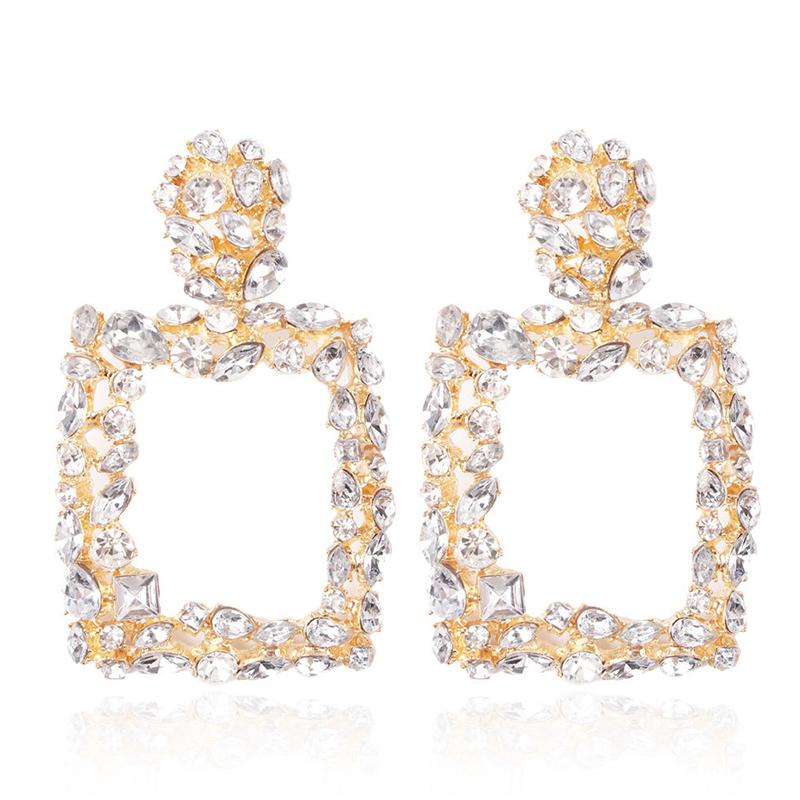 Lovely Trendy Rhinestone Decorative White Earring