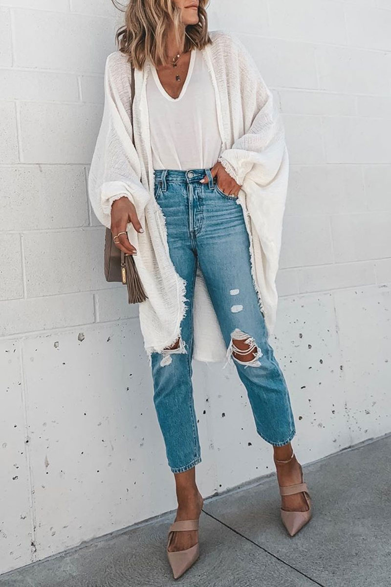 Lovely Tassel Design White Cardigan