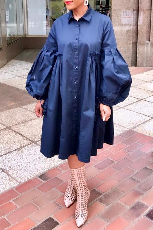 Lovely Casual Turndown Collar Ruffle Design Navy Blue Knee Length Dress