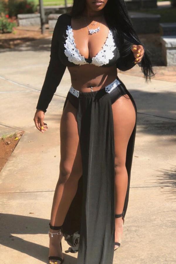 Lovely Sexy Side High Slit Black Two-piece Skirt Set