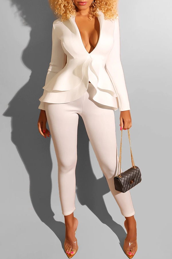 Lovely Work Deep V Neck Layered White Two-piece Pants Set