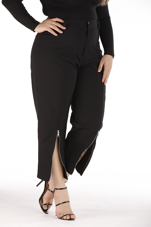 Lovely Trendy Zipper Design Black Plus Size Pants