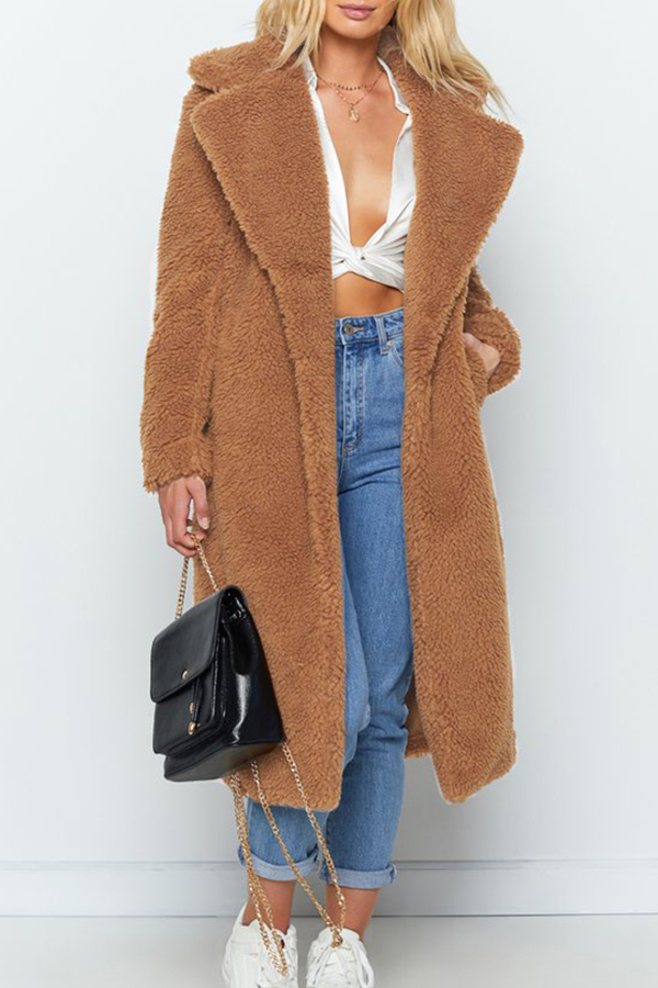 Lovely Casual Winter Long Light Camel Coat
