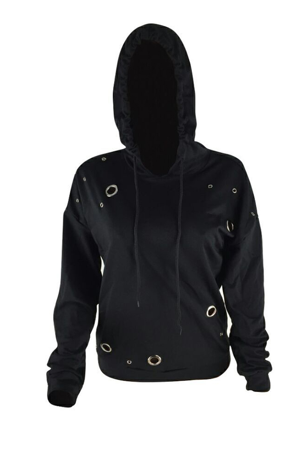 Lovely Leisure Hooded Collar Hollow-out Black Hoodie