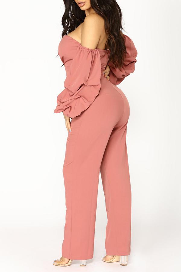 Lovely Chic Dew Shoulder Pink One-piece Jumpsuit