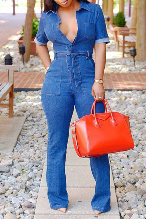 Lovely Work Lace-up Deep Blue One-piece Jumpsuit