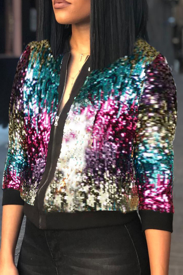 Lovely Casual Sequined Decorative Multicolor Coat
