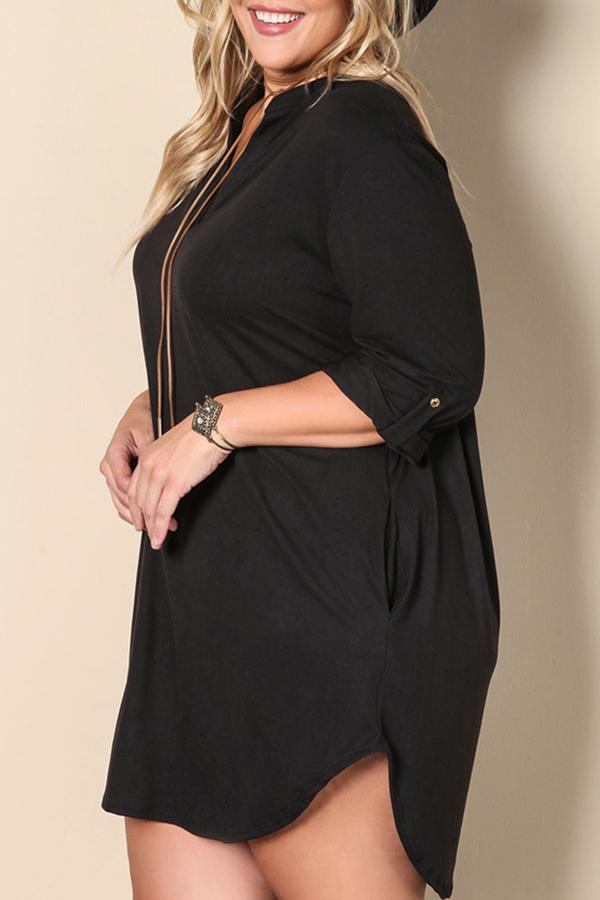 Lovely Casual V Neck Side Slit Black Mini Plus Size Dress