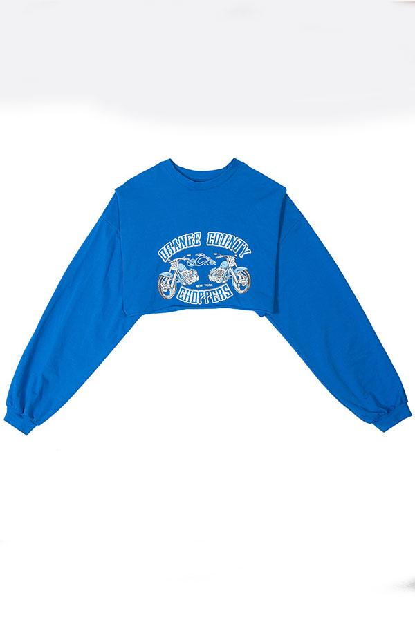 Lovely Casual Crop Top Blue Sweatshirt Hoodie