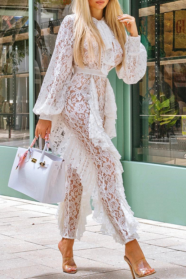 Lovely Casual Flounce Design White One-piece Jumpsuit