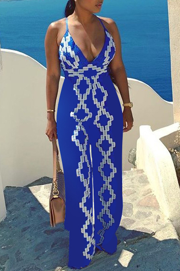 Lovely Bohemian Deep V Neck Blue One-piece Jumpsuit
