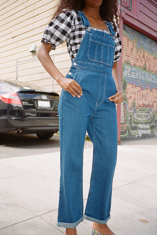 Lovely Casual Pockets Design Baby Blue One-piece Jumpsuit