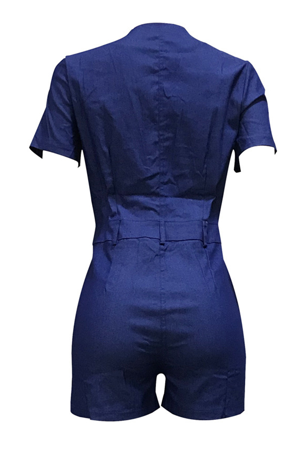 Lovely Casual Knot Design Blue One-piece Romper