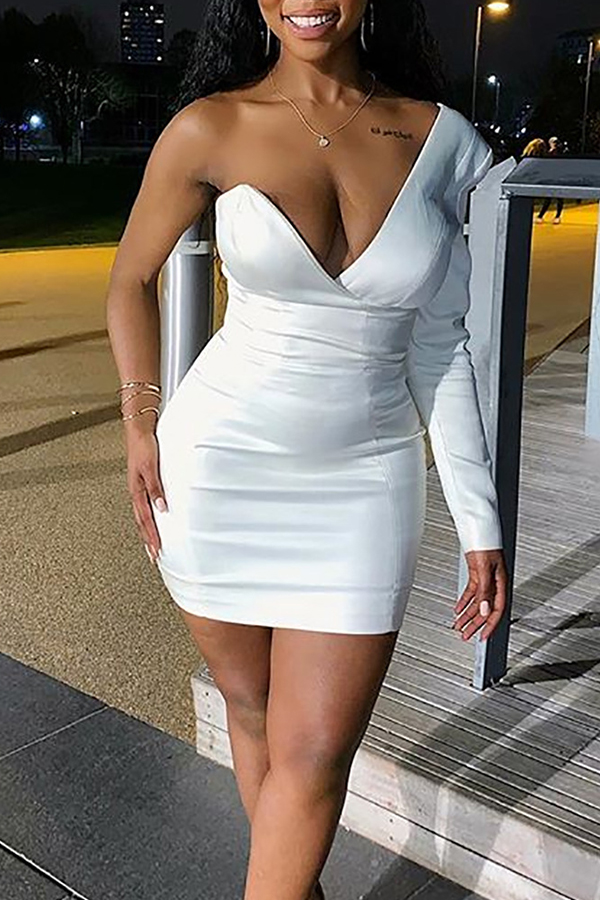 Lovely Party One Shoulder White Mini Prom Dress