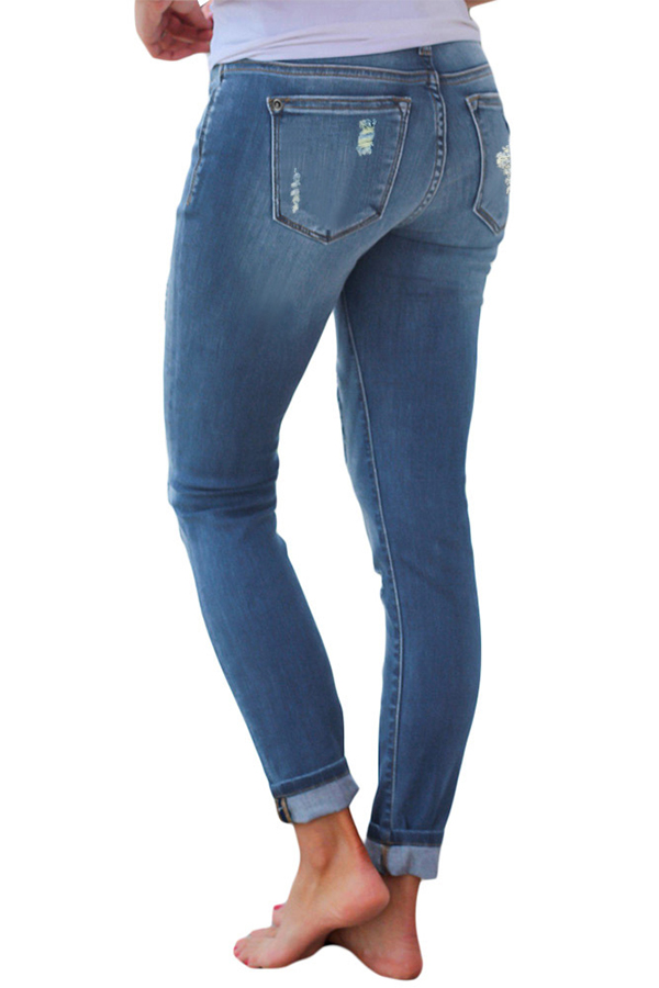 Lovely Leisure Patchwork Baby Blue Jeans