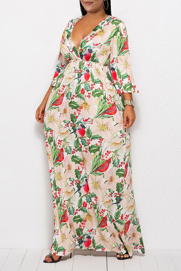 Lovely Casual V Neck Floral Printed Green Ankle Length Plus Size Dress