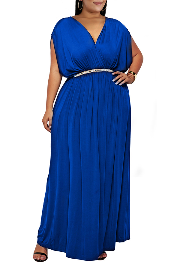 Lovely Casual V Neck Sleeveless Royal Blue Ankle Length Plus Size Dress(Without Belt)