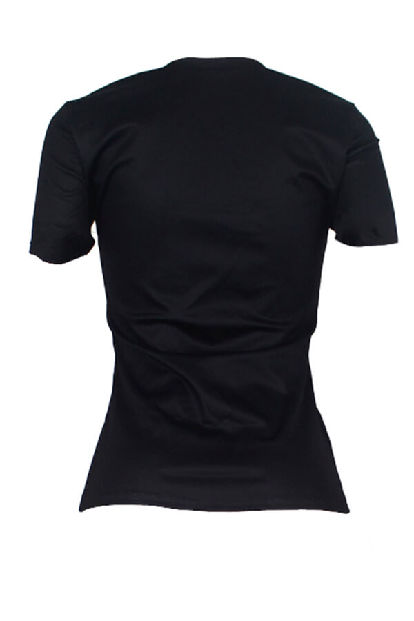 Lovely Casual Letter Printed Black T-shirt