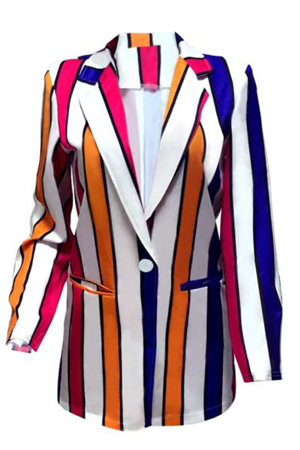 Lovely Casual Striped Multicolor Blazer