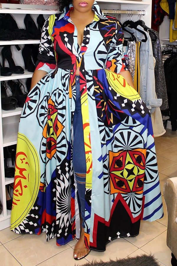 Lovely Casual Turndown Collar Printed Multicolor Floor Length Dress