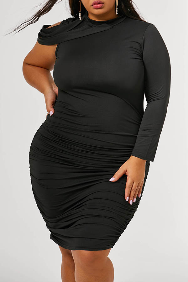 Lovely Trendy Ruffle Design Black Knee Length Plus Size Dress